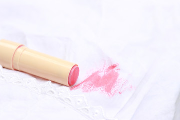 dirty stain on clothes, ink and lipstick stain in daily life
