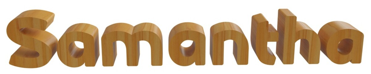 samantha in 3d name with wooden texture