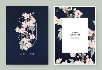 Floral wedding invitation card template design, pink sakura flowers in white polygon shape on dark blue background, pastel vintage style Wall mural