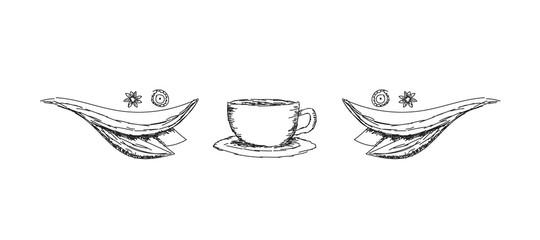 Coffee cup, abstract vector sketch, doodle art