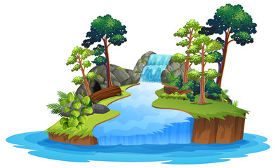 Wall Mural - Isolated nature waterfall on white background