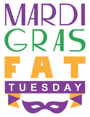 Mardi gras fat tuesday lettering text greeting card