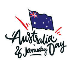 Happy Australia day hand drawn vector lettering. Isolated on white background.