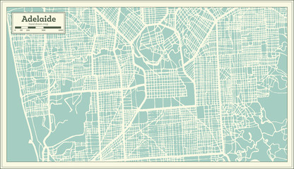 Adelaide Australia City Map in Retro Style. Outline Map.
