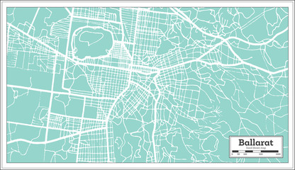 Ballarat Australia City Map in Retro Style. Outline Map.