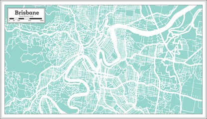 Brisbane Australia City Map in Retro Style. Outline Map.