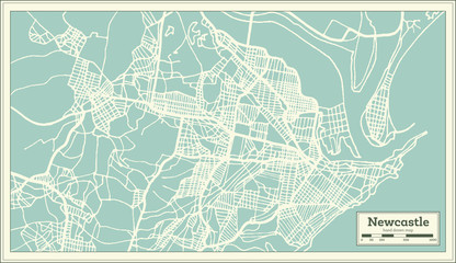 Newcastle Australia City Map in Retro Style. Outline Map.