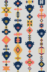 Tribal seamless vector pattern with skulls of animals, hand drawn background. Decorative ethnic ornament. Modern boho style. Ethnic tribal with buffalo silhouettes coral blue gray yellow