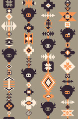Ethnic Boho Tribal seamless vector pattern with skulls of animals, hand drawn background. Decorative ethnic ornament. Modern boho style. Ethnic tribal with buffalo silhouettes coral brown gray beige