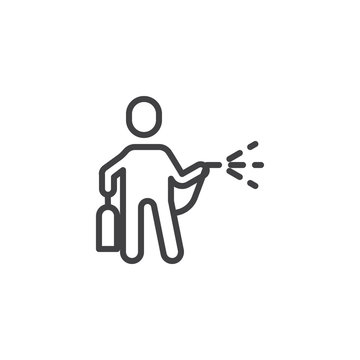 The man with insecticide spray line icon. linear style sign for mobile concept and web design. Man with bug sprayer outline vector icon. Pest control symbol, logo illustration. Pixel perfect vector