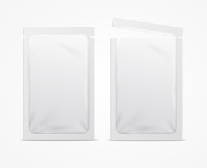 Realistic 3d Detailed White Blank Foil or Plastic Sachet Template Mockup Set. Vector