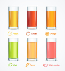 Realistic Detailed 3d Different Juice Glass Set. Vector