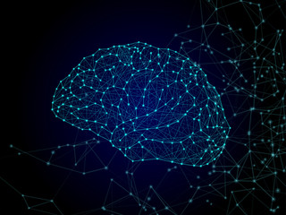 Concept of a human brain from luminous points and lines. Shape isolated on dark background. Vector illustration