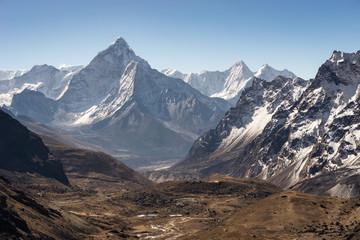 Mount Ama Dablam seen from Chola pass in Himalaya mountains range, Everest region, Nepal