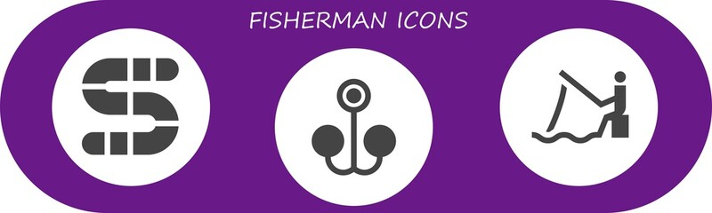 fisherman icon set