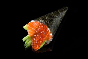 Fototapeta Delicious Temaki Sushi with salmon, caviar (Ikura), avocado and cucumber on black background. Traditional Japanese cuisine obraz