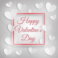Greeting card with white hearts and a frame with inscription Happy Valentines Day