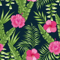 Tropical leaves and flowers seamless black background