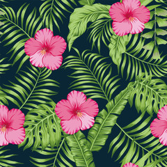 Tropical leaves and hibiscus seamless dark blue background