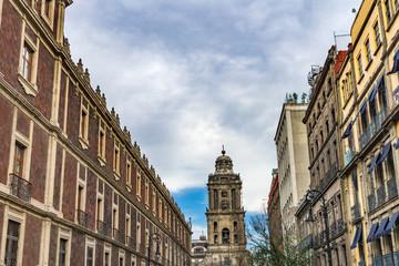Mexican Street Metropolitan Cathedral Zocalo Mexico City Mexico