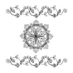 Hand-drawn flowers ribbon and mandala. Boho style illustration.