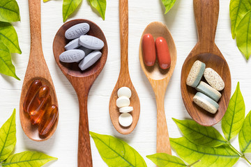 Variety of vitamin pills in wooden spoon on white background with green leaf, supplemental and healthcare product, flat lay surface