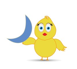 chick holding half moon - funny