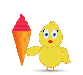 chick enjoying a cone ice cream