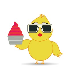 chick enjoying a cup ice cream