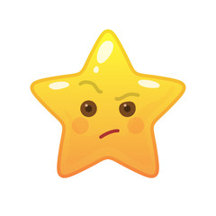 Envious star shaped comic emoticon. Suspecting face with facial expression. Critical emoji symbol for internet chatting. Funny social communication animation. Mood message isolated vector element