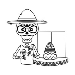 skeleton mexican with hat and maracas