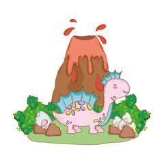 cute apatosaurus with volcano scene