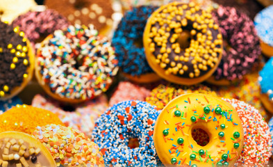 Delicious colorful donuts