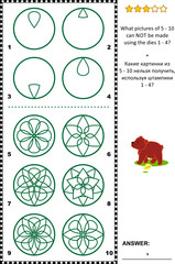 IQ training visual puzzle: What prints can not be made using the given dies? Answer included.