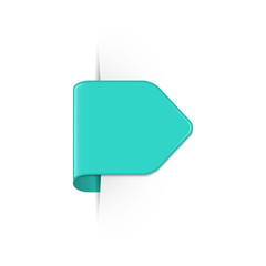 Vector short curved turquoise bookmark arrow with shadow and copy space