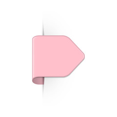 Vector short curved pink bookmark arrow with shadow and copy space