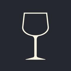 Wine glass icon, modern minimal flat design style, vector illustration