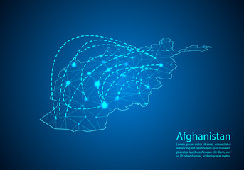 Afghanistan map with nodes linked by lines. concept of global communication and business. Dark Afghanistan map created from white dots with travel locations or internet connection.