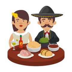 mexicans couple with delicious food