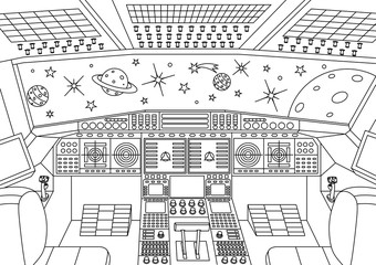 Spaceship interior in the universe - coloring book