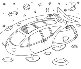 Spacecraft on some planet in space - coloring book
