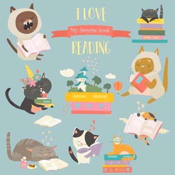 Funny cartoon cats reading books. Vector set