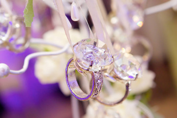 Elegant gifts in the form of wedding rings with diamonds