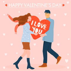 Valentine's day card with happy couple. Man giving to his woman a big heart. Vector illustration.