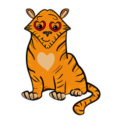Tiger - wild cat with a heart on his chest. Valentine's Day. Bright vector illustration. The sweet feeling of love.  Vector