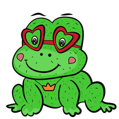 A cute cartoon frog prince fairy tale with glasses in shape of heart and the decoration of the crown pendant. Valentine's Day. Little cute green frog smiles. The sweet feeling of love.