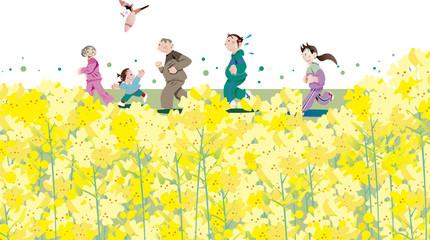 菜の花の咲く頃家族でランニング