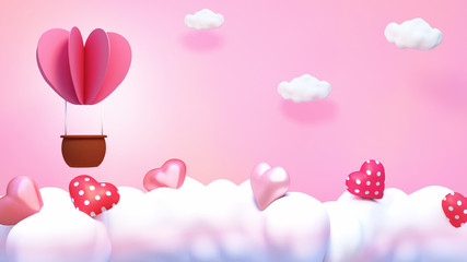 Happy Valentine's heart shaped hot air balloon. 3d rendering picture.