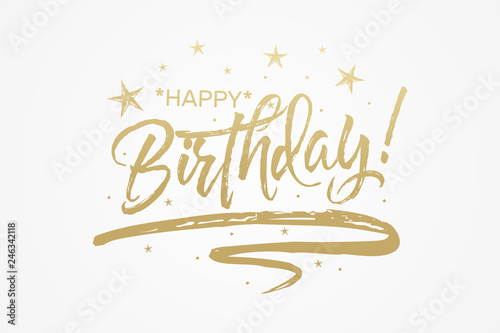 Happy Birthday Card The Text Golden Bright Brilliant Calligraphy Banner Vector Graphics Isolated Background