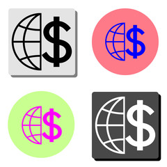 Globe with dollar. flat vector icon